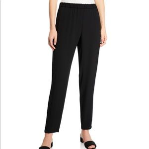 Eileen Fisher Black Silk Slouchy Ankle Pants